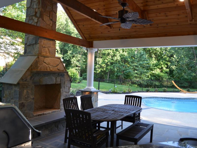 Pool House Outdoor Kitchen Amp Fireplace Greensward Llc