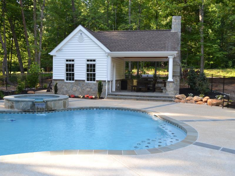 Pool house outdoor kitchen fireplace greensward llc for Pool house with outdoor kitchen
