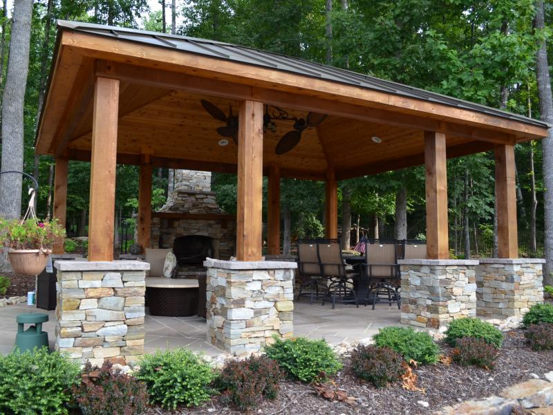 Landscaping Stone Fredericksburg Va : Western red cedar pavilion fireplace outdoor kitchen and pergola