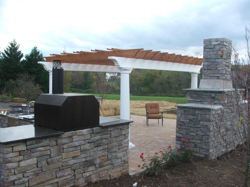 Back of Outdoor Living Space and Fireplace