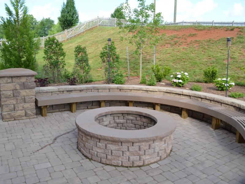 Fire Pit with Custom Bench- Culpeper, VA