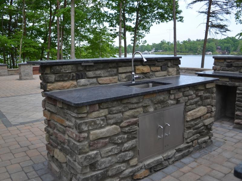 Stone Faced Outdoor Kitchen- Lake Anna