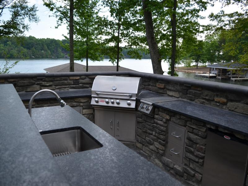 Bull Grill and Silver Pearl Leather Granite Counters