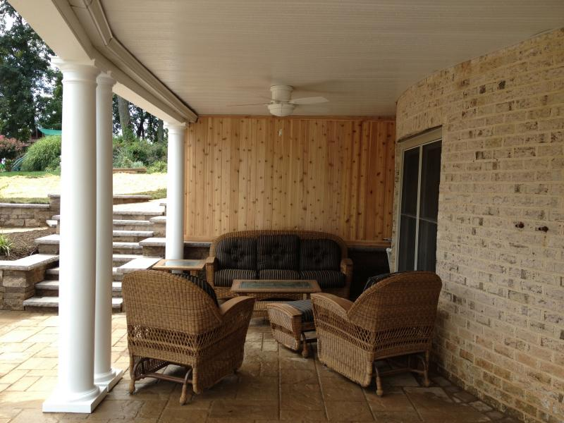 Under Deck Cedar Screen and Ceiling