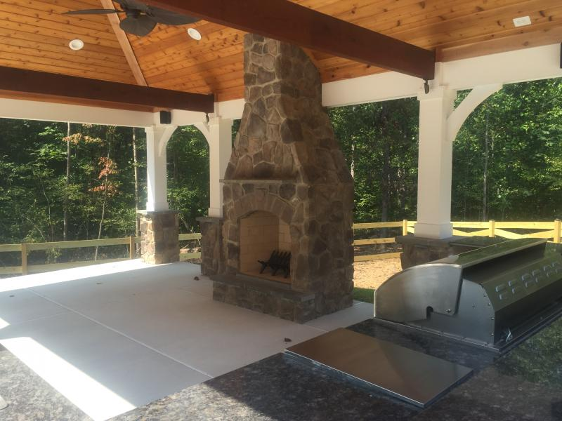 Custom Pool Pavilion- Outdoor Kitchen and Fireplace