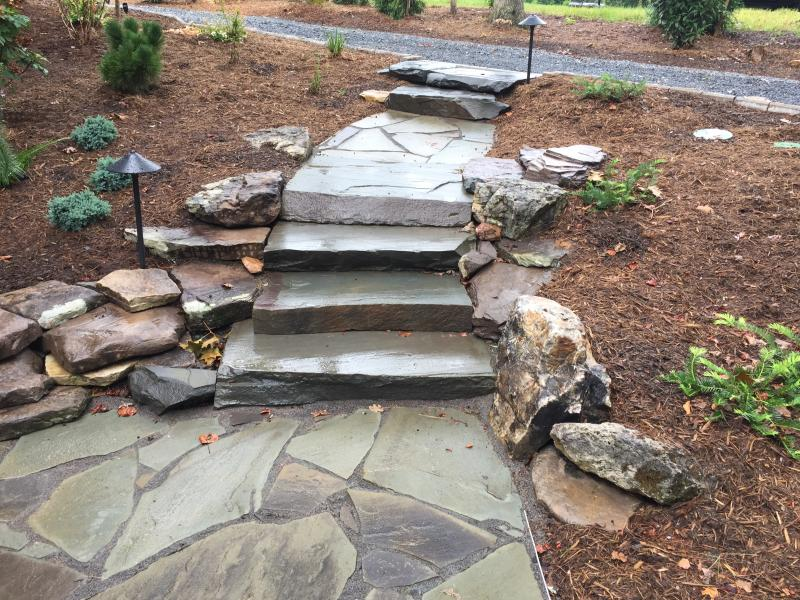Stone Walkway and Landscape Plantings Bumpass